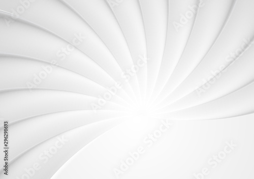 Fototapety, obrazy: Smooth grey glossy waves abstract background. Vector swirl design