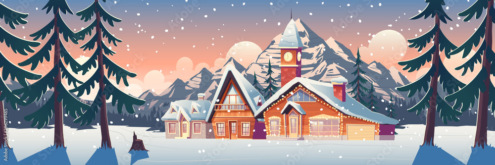 Fototapety, obrazy: Winter mountain landscape with houses decorated with christmas garland and tower with clock. Ski resort settlement with spruce trees and snowy peaks in Canada or North Pole Cartoon vector illustration