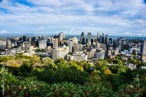 Montreal city skyline from an aerial view