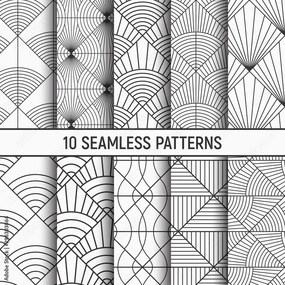Set of ten monochrome seamless patterns. Repeating geometric tiles, striped elements. Art deco sunburst patterns.