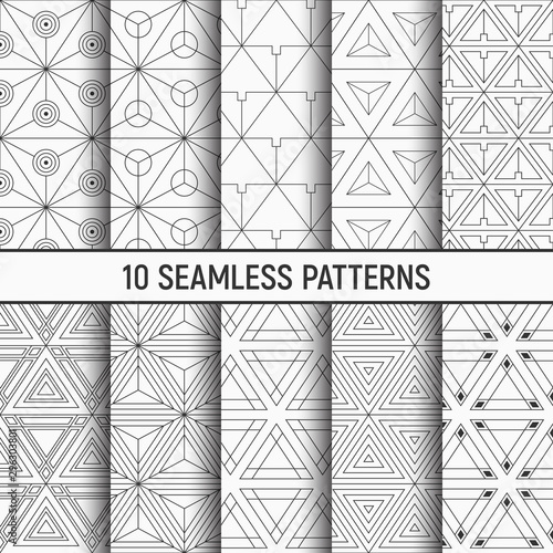 fototapeta na ścianę Set of ten monochrome seamless patterns of triangles. Abstract geometrical trendy vector backgrounds. Linear style.