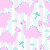 Fototapeta Dinusie - Cute seamless pattern with funny dinosaurs. vector illustration.