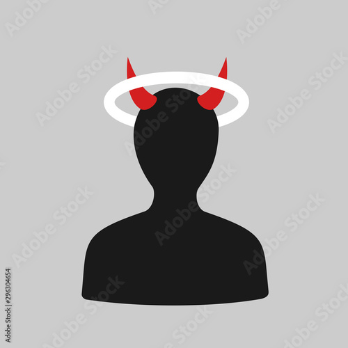 Person is holy angel and evil devil and demon Canvas Print