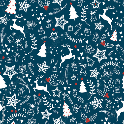 mata magnetyczna Beautiful christmas doodles seamless pattern - hand drawn and detailed, great for christmas textiles, banners, wrappers, wallpapers - vector surface design