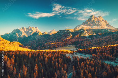 Fototapeta Aerial view of Lago Antorno, Dolomites, Lake mountain landscape with Alps peak , Misurina, Cortina d'Ampezzo, Italy. obraz