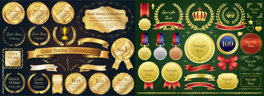 Fototapety, obrazy: Set of golden medal, label, wreath, laurel wreath and award frame set