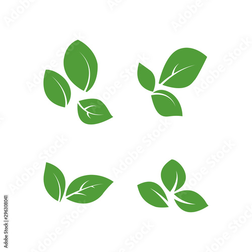 Fotografía set of isolated green leaves vector icon design on white background