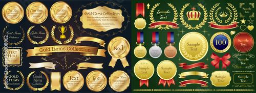 Fotografía  Set of golden medal, label, wreath, laurel wreath and award frame set