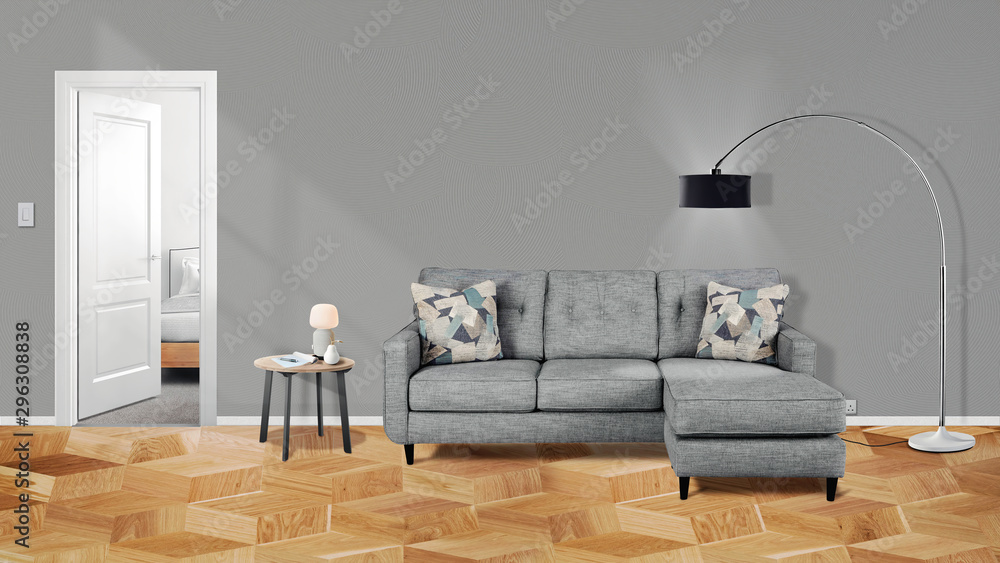 Fototapety, obrazy: Modern  interior with sofa,table, lamp and plants 3d illustration