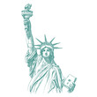 Statue of Liberty engraving style illustration. Engraved style drawing. Vector.