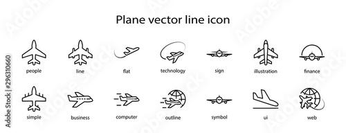 Fényképezés  Set of Plane vector line icon