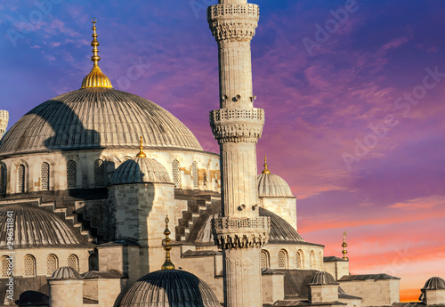 Blue Mosque in Istanbul at sunset