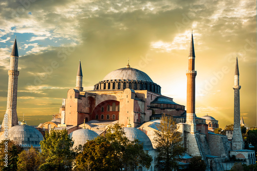 Photo  Hagia Sophia after the sunset