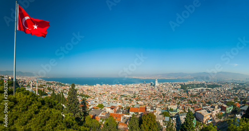 View at Izmir city from a hill above