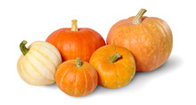 A Heap Of Pumpkins Isolated On White Background.