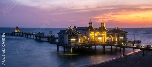fototapeta na ścianę Sellin Pier during a beautiful, colorful dawn.Ostseebad Sellin tourist resort, Baltic Sea , Germany