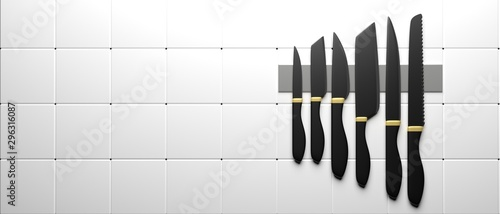 Fotomural  Kitchen knives set isolated against white background