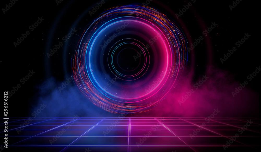 Fototapety, obrazy: Dark scene with a neon circle, smoke, smog. Futuristic dark neon background.