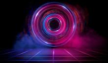 Dark Scene With A Neon Circle,...