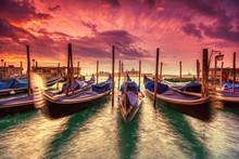 Gondolas Moored By Saint Mark Square, Venice, Italy, Europe.