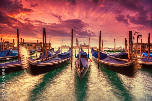 Aluminium Prints Venice Gondolas moored by Saint Mark square, Venice, Italy, Europe.