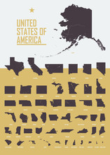 Poster With Detailed USA State...