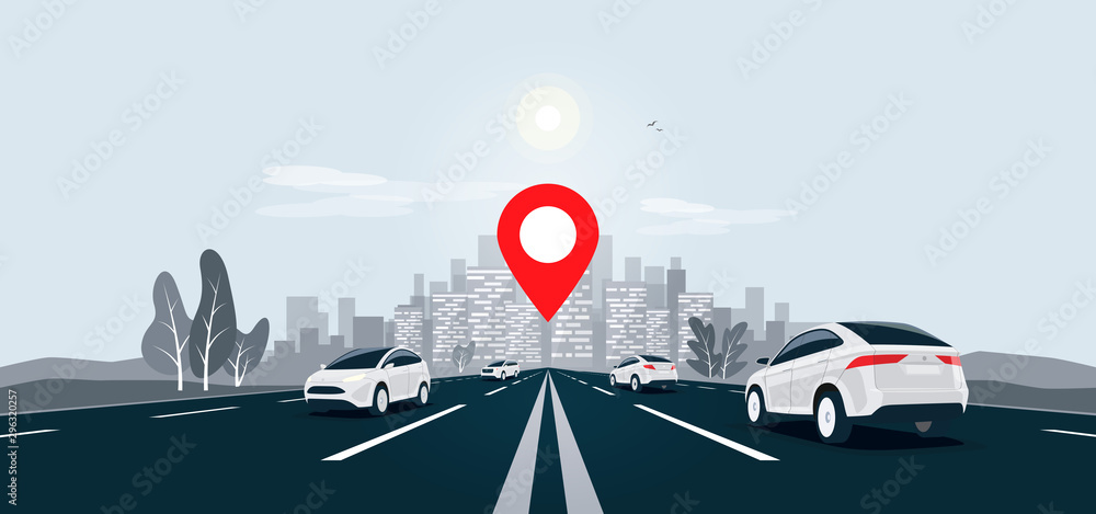 Fototapeta Traffic cars on highway to city skyline landscape motorway panoramic horizon view. Vector cartoon illustration with vehicle on street driving on infinite road with navigation map location pointer.