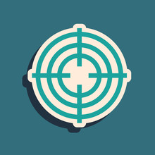 Green Target Sport For Shooting Competition Icon Isolated On Blue Background. Clean Target With Numbers For Shooting Range Or Shooting. Long Shadow Style. Vector Illustration