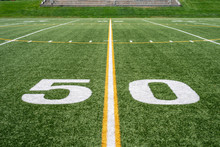 50 Yard Line On High School Football Field