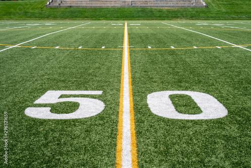 Valokuvatapetti 50 yard line on high school football field