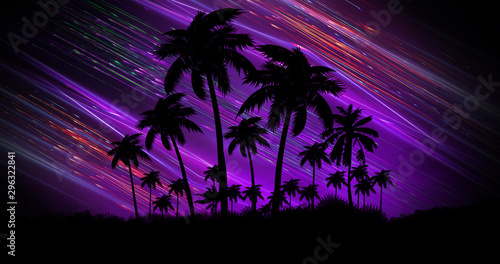 Futuristic night landscape with neon abstract sunset. Coconut trees silhouette on the beach at night. Neon palm tree abstract light.