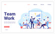 Landing page template of Teamwork Design. People working in a team and interact with graphs. Discussion of the company business strategy. Creative team vector illustration.