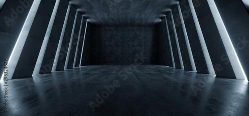 Fototapeta Huge Big Dark Hall Garage Tunnel Corridor Car Empty Studio Background White Windows Light Glow Cement Asphalt Concrete Grunge Dark Tall 3D Rendering obraz
