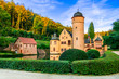 romantic castle Mespelbrunn with beautiful gardens in Germany