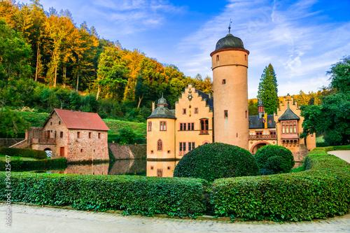 romantic castle Mespelbrunn with beautiful gardens in Germany