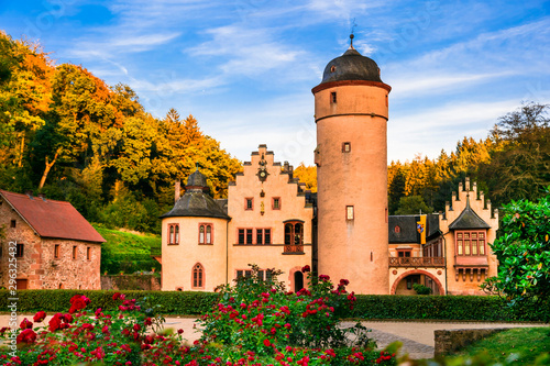 Beautiful romantic castle Mespelbrunn in Germany