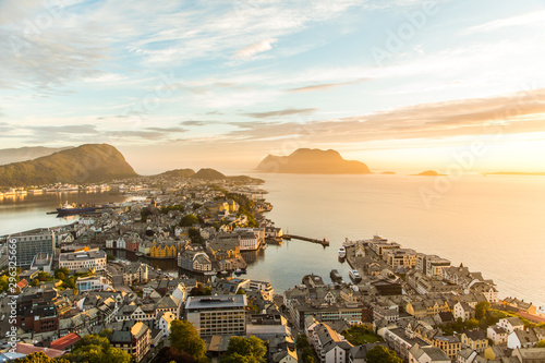 Poster Northern Europe Cityscape of Alesund town at sunset. Norway