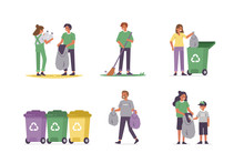 People Characters Gathering Waste And Cleaning Nature. Woman, Man And Kid Disposing Garbage Into Separate Bins. Paper, Plastic And Other Household Waste Recycling. Flat Cartoon Vector Illustration.