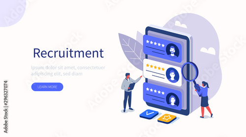 Obraz People Characters Choosing Best Candidate for Job. Hr Managers Searching New Employee. Recruitment Process. Human Resource Management and Hiring Concept. Flat Isometric Vector Illustration. - fototapety do salonu