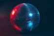 canvas print picture - Big disco ball close up on dark background