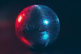 Big disco ball close up on dark background
