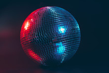 Big Disco Ball Close Up On Dar...