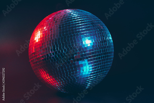 Big disco ball close up on dark background - 296327292