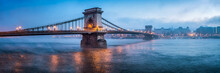 Chain Bridge Panorama In Budap...