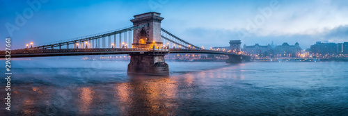 Chain Bridge panorama in Budapest, Hungary Wallpaper Mural