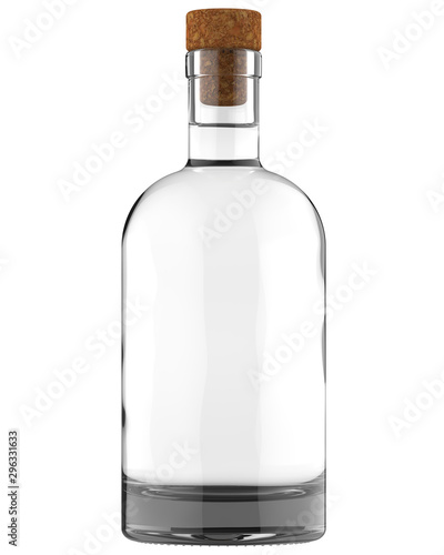 Clear White Glass Whiskey, Vodka, Gin, Wine, Ticture, Moonshine or Tequila Bottle with Amber Liquid. 750, 700, 1000 ml (70, 75, 100 cl) or 1, 0.7, 0.75 L volume. Isolated 3D Render on White. Fototapete