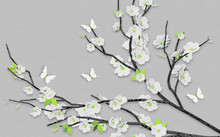 3d Illustration, Gray Background, Gray Branch With Paper White Flowers, Green Leaves And White Paper Butterflies