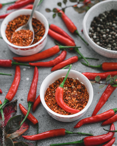 spices and chili peppers on a gray background