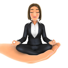 3d Hand Holding Business Woman Doing Yoga