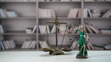 Themis Figurine. The Criminal Law. Low Concept. Close Up
